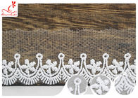 Polyester Width 3CM Ribbon Embroidered Lace Trim For Wedding Dress