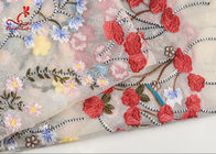 French Bride Colorful Embroidered Fabric Tulle Mesh Lace High Color Fastness