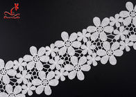 Beautiful Flower White Embroidered Lace Trim For Wedding Dress