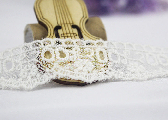 Milk Silk Nylon Eyelet Wedding Lace Trim For Garment , Floral Embroidered Lace Ribbon