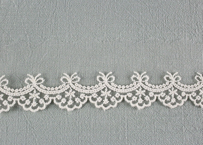 Cute Floral Embroidered Lace Trim Soft Ivory Bridal Lace Border For Art Decoration
