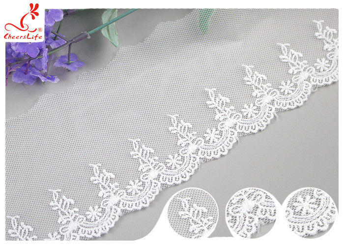 Sri Lanka Embroidery Floral Nylon Lace Trim With Cotton Material Customized