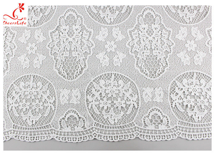 Guipure Embroidered Floral Lace Fabric With Chemical Poly Milk Silk Comfortable
